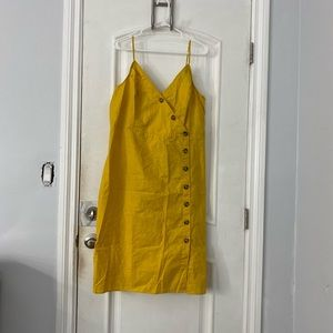 Yellow button up summer dress